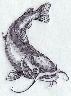 Machine Embroidery Designs at Embroidery Library! Fish Drawings, Animal Drawings, Art Drawings, Catfish Images, Catfish Tattoo, Bugs Bunny Drawing, Drawing Prompt, Fish Art, Machine Embroidery Designs