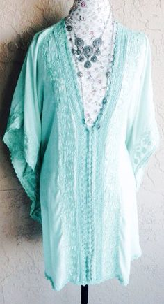 Mint Green Caftain Crochet Bikini Cover-Up Swimsuit Batwing