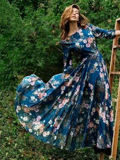 96cf906aed Floral 3 4 Sleeves Round-neck Maxi Dress