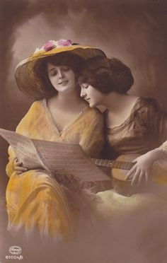 Lovely Edwardian Ladies with Guitar and Music Sheet, Original French Postcard
