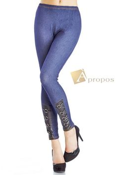 Leggings Jeggings Treggins Stretch Strumpfhose Schwarz Blau S/ M Apropos
