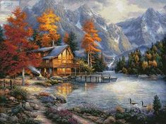 Space for Reflection - cross stitch pattern designed by Tereena Clarke. Category: Mountains.