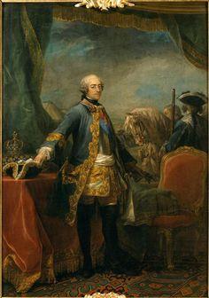Louis XV (1710-1774), roi de France  Description: En habit militaire, prêt à monter à cheval pendant la campagne des Flandres de 1745 1746-1748  Auteur: Van Loo Carle (dit), Van Loo Charles André (1705-1765)