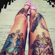 Colorful leg tattoos with pink vans