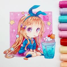 Beautiful Art made by with Copic markers Anime Chibi, Chibi Kawaii, Cute Chibi, Kawaii Art, Kawaii Anime, Copic Drawings, Kawaii Drawings, Cute Drawings, Manga Drawing