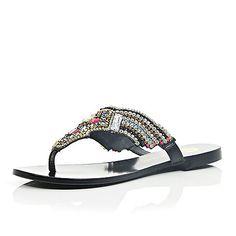 Black leather gem embellished sandals - flat sandals - shoes / boots - women