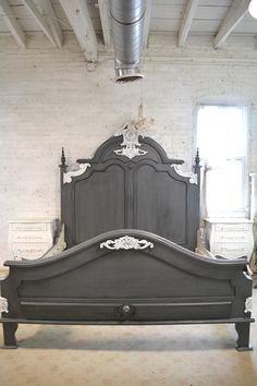 Gray French Bed Painted Cottage Shabby Chic French Bed Queen / King