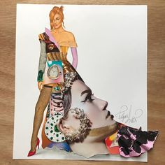 Collage art fashion dress by Edgar Artis. Fashion Design Drawings, Fashion Sketches, Funny Drawings, Art Drawings, Mode Collage, Collage Art, Arte Fashion, Middle School Art Projects, Fashion Illustration Dresses