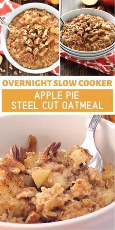 Overnight Slow Cooker Apple Pie Steel Cut Oatmeal is an effortless breakfast with an easy trick for no burnt edges! This quick and easy healthy meal will be loved by the whole family. Save this crock pot apple oatmeal recipe for later! Healthy Food Choices, Good Healthy Recipes, Healthy Foods To Eat, Healthy Cooking, Slow Cooker Apples, Slow Cooker Recipes, Crockpot Recipes, Oatmeal Slow Cooker, Crock Pot Oatmeal