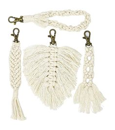 Macrame Keychains for Women - Set of 4 Trendy Boho Styles - Braided, Tassel, Wristlet Strap and Feather - Car Key or Purse Accessory, and Backpack Decor Car Keys, Braid Styles, Homemade Gifts, Keychains, Gifts For Women, Boho Fashion, Macrame, Tassels, Feather