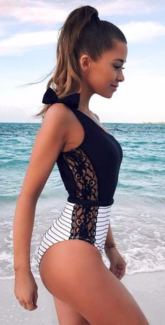 It's Time to Prepare Swimwear Set for Daily, Swimming pool, Honeymoon or Beach holiday. Buy One Piece Tied One Shoulder Striped Splicing Lace Swimsuit Stand out in the crowd with all eyes on you! One Piece Swimsuit Striped, Lace Swimsuit, Bathing Suits One Piece, Cute Bathing Suits, Bathing Suit Top, One Piece Swimwear, Sexy Bikini, Bikini Sets, Bikini Swimwear