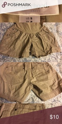Motherhood Maternity tan shorts size small Used in good condition. Still have lots of life. Tan and stylish. Can't tell they are maternity shorts. Very comfortable and cute! Motherhood Maternity Shorts
