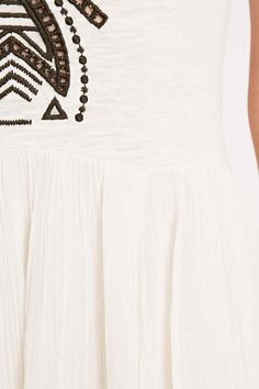 Free People Meadow Embroidered Midi Dress in Ivory