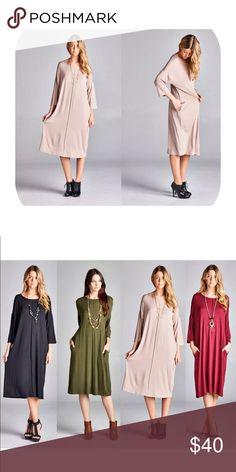 Nude long sleeve dress Brand new with tag. Comfortable material. Bundle discount is 15%. Made of Cotten blend. Dresses Midi