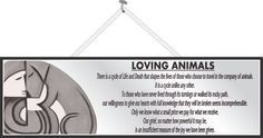 Loving Animals Pet Quote Sign in Grey with Modern Art Style Dog or Cat and Pet Owner