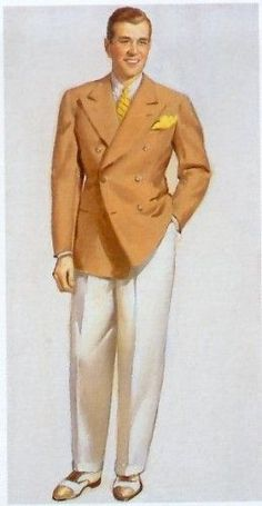 1930s mens sport coat and white pants - 1930s men's clothing and fashion.