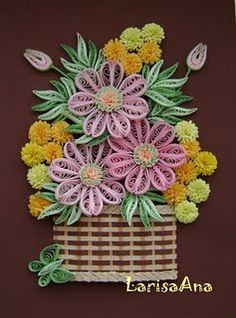 quilling - flowers -basket- by: LarisaAna