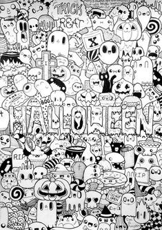 Drawing Doodle With these Halloween Doodles, you can celebrate the happy Halloween's Day. Search through Halloween doodles and find creepy characters, witches and mystical monsters. Kawaii Halloween, Doodle Halloween, Halloween Halloween, Cute Halloween Drawings, Tumblr Coloring Pages, Animal Coloring Pages, Coloring Books, Colouring, Kids Coloring