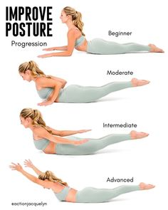 Gym Workout, Fitness, Yoga And Sports Outfits Better Posture Exercises, Posture Stretches, Back Exercises, Exercise For Posture, Middle Back Stretches, Posture Correction Exercises, Stretching Exercises For Flexibility, Scoliosis Exercises, Yoga Exercises