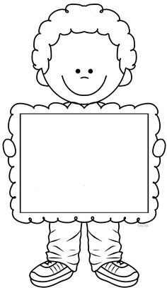 Boy holding blank sign coloring page