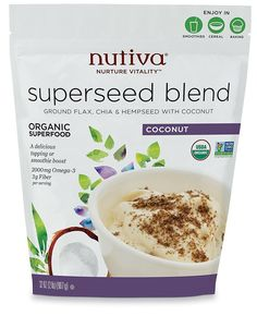 Nutiva Organic Superseed Blend Ground Flax + Chia & Hempseed w Coconut 2 LB Bag #Nutiva