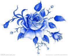 Botanical Illustration, Illustration Art, Illustrations, Tattoo Fleur, Brust Tattoo, Decoupage, Blue Rose Tattoos, Scandinavian Folk Art, Rose Images