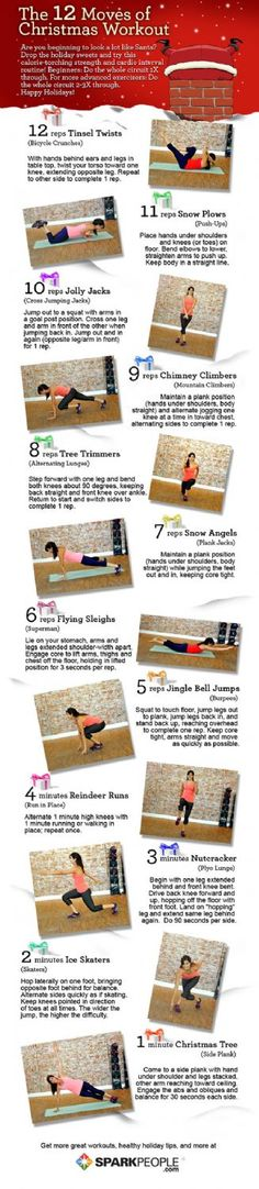 Prevent Holiday Pounds with the 12 Moves of Christmas Workout! This would actually burn some calories!