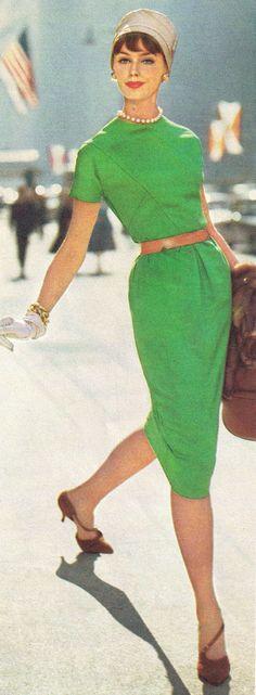 1959 vintage fashion style green sheath dress wiggle 50s 60s kitten heel shoes hat belt gloves color photo print ad