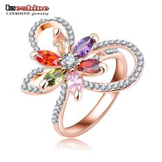 LZESHINE Luxury Rose Gold Plated Flower Crystal Ring Genuine SWA Stellux Engagement Ring Women Jewelry joias ouro Ri-HQ0393-A