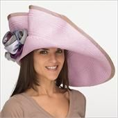 """• Kalena  • Design by Christine A. Moore   • Fabric: Panama Straw, Silk Taffeta, Silk Matte, French Net  • Colors: Violet  • Style: large brim hat with a dramatic twist. One side is pinned up in a scalloped  fashion and finished with handmade silk flowers. 4"""" Crown, 8 1/2"""" Brim  • Size: Fits Most, Adjustable strings inside crown  • Hand Made in New York"""