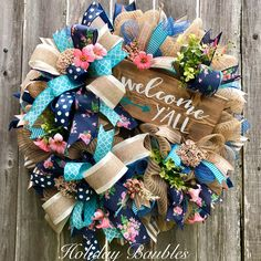Wreaths, Arrangements and More for Every Occasion by HolidayBaublesWreath Wreath Crafts, Diy Wreath, Wreath Ideas, Fabric Wreath, Deco Mesh Wreaths, Door Wreaths, Burlap Wreaths, Shabby Chic Kranz, Country Wreaths