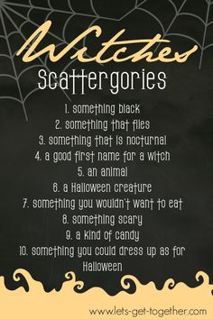 Witches Scattergories from Let's Get Together - awesome #freeprintable Halloween game! Part of a post about hosting your own Witches Tea party! #halloween #partygame