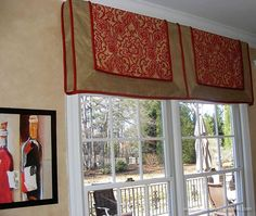 unique colorful valance for this window, with an intense red color