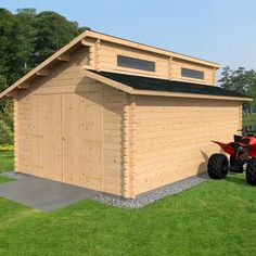 4 x 5.6m WOODEN GARAGE LOG CABIN VARIOUS CLADDING OUTDOOR STORE SPILT ROOF NEW
