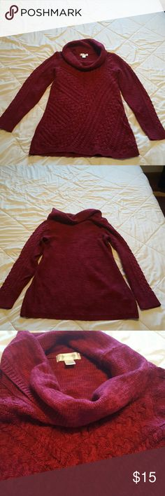 Motherhood Maternity Cowl Neck Sweater This adorable sweater is in good condition! It's a heavier sweater and is maroon in color! Super cute and great length coverage when your pregnant;) Motherhood Maternity Sweaters Cowl & Turtlenecks