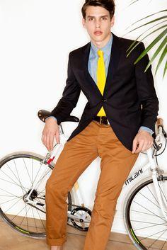 yellow tie and blue custom dress shirt