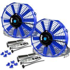 "Universal 14/"" Motor Engine Radiator Cooler Cooling Electric Pull Push Fan Blue"