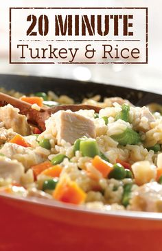 This tasty, one-skillet dish is the perfect solution for busy weeknights. Try making this 20-Minute Turkey & Rice dinner for your family tonight!