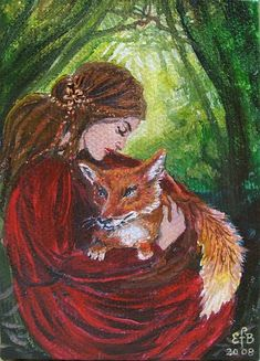 Freya and the Fox - Pagan Goddess Art 5x7 Greeting Card via Etsy