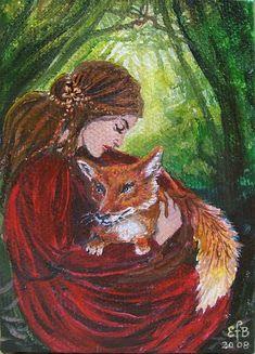 Freya and the Fox - Pagan Goddess Art 5x7 Greeting Card via Etsy