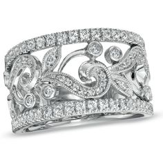 3/4 CT.T.W Diamond Milgrain Vine Band .... Would love this with a big sapphire or ruby as both my engagement and wedding band