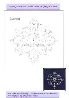ED078 White Poinsetta on Craftsuprint designed by Emy van Schaik - Stitching with beads - Now available for download!