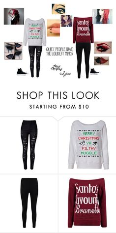 """Me, trying to get in the Christmas spirit"" by cat-fuentes-preciado ❤ liked on Polyvore featuring WithChic, Boohoo and Converse"