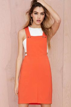 Do the Bright Thing Overall Dress - Day | Shift | Solid |  | Newly Added |  | Rompers + Jumpsuits