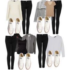 """""""Outfits ft. Black Jeggings and white lo Converse"""" by lifeofsiena on Polyvore How To Wear White Converse, White Converse Outfits, Converse Style, Casual Fall Outfits, Cute Outfits, Casual Winter, Winter Outfits, Fall Winter, Leggings And Converse"""