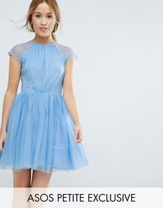 Get this Asos Petite's mini dress now! Click for more details. Worldwide shipping. ASOS PETITE PREMIUM Lace Tulle Mini Prom Dress - Blue: Petite dress by ASOS PETITE, Woven fabric, Crew neck, Eyelash lace inserts, Lined tulle skirt, Button-back fastening, Open back, Zip-back closure, Regular fit - true to size, Hand wash, 100% Polyester, Our model wears a UK 8/EU 36/US 4 and is 163cm/5'4 tall, Mini dress length between: 85-87cm. 5�3�/1.60m and under? The London-based design team behind AS...