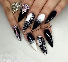 "Black & White Nails Ideas/ Rose Nail Art/ Stiletto Coffin Nails/ Paznokcie Hybrydowe/ Zdobienie Paznokci/ Manicure Hybrydowy/ Stylizacje Paznokci/ Manicure z różą/ <a href=""https://www.neonail.pl/?utm_source=social&utm_medium=pinterest"">Lakiery Hybrydowe NeoNail</a>"