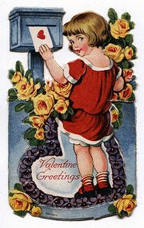 Valentine's Day mailbox greetings. #1930s Happy Valentines Day Aunt Tammy Loves you guys