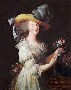 1780-1795  Epoka: Późne oświecenie/rewolucja francuska  Charakterystyczne: ogromne, suto zdobione kapelusze, suknie dworskie przypominające bezę (:D), w ubiorze codziennym mniej dekoracji, prostsza kolorystyka i ornamenty, na głowie burza pudrowanych (lub nie) loków. Tors również spłaszczony z wypchniętym biustem!