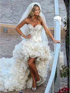 Angela Women's Sweetheart Tiered Hi-Lo Organza Wedding Dress Long Train Bridal Gown White 20 Plus